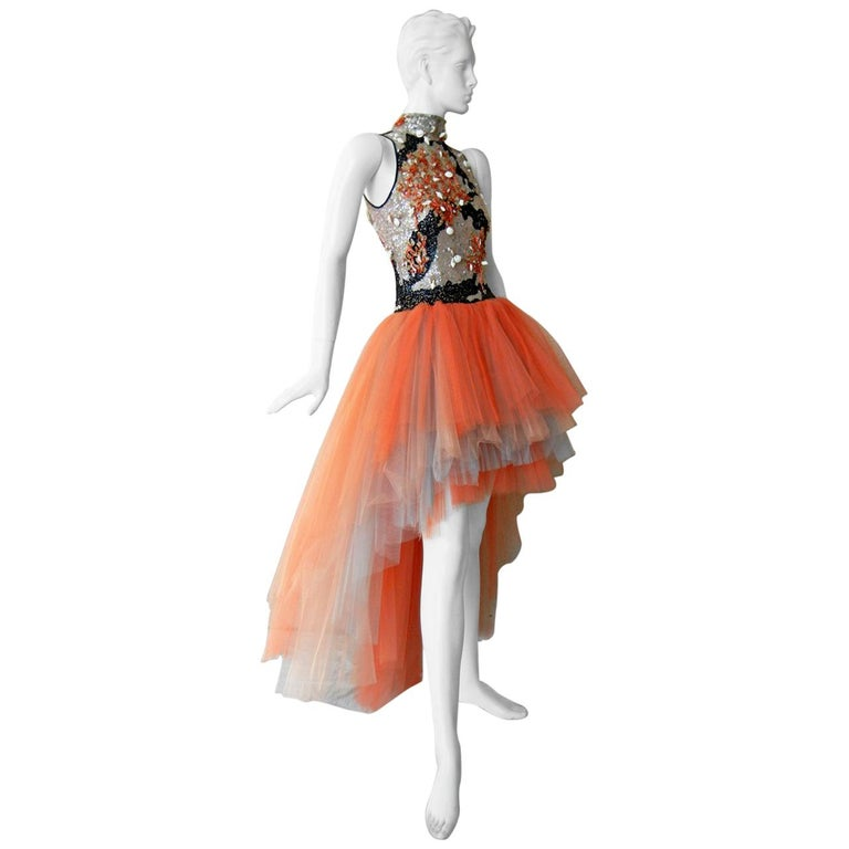 "Valentino ""WOW"" Branch Coral Shell Beaded Hi Low Tulle Evening Dress Gown For Sale"