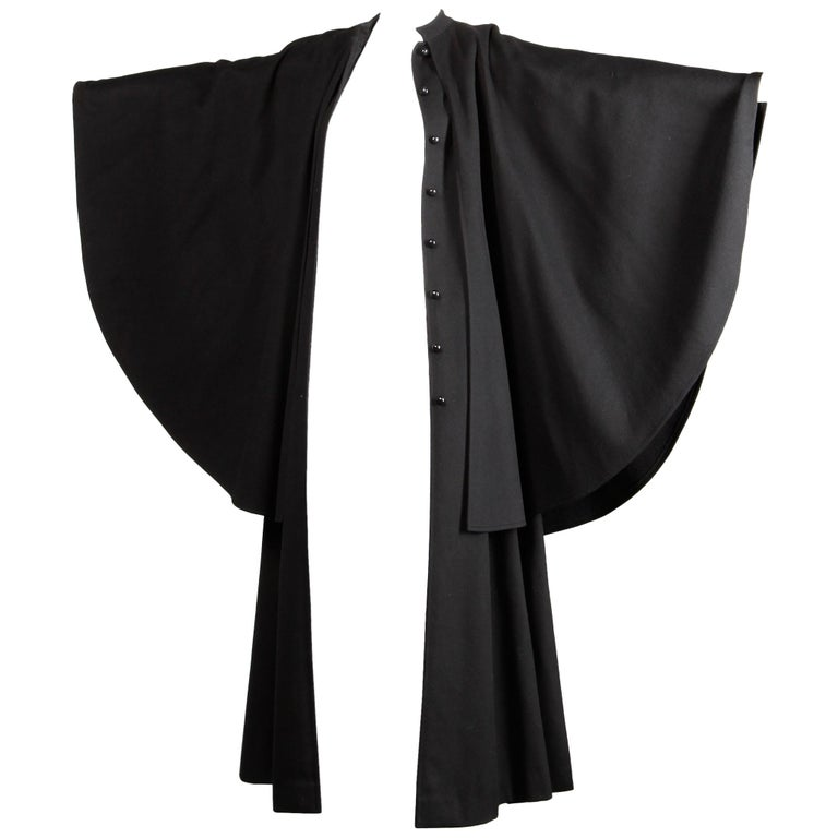 1970s YSL Yves Saint Laurent Vintage Long Black Heavy Wool Cape Coat For Sale