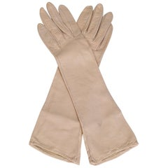 Rose Silk-Lined Kidskin Leather Evening Gloves - XS-S, 1950s