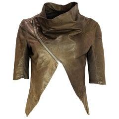 Rick Owens Brown Leather Crop 3/4 Sleeve Sleeve Jacket W/ Asymmetrical Zip Sz M