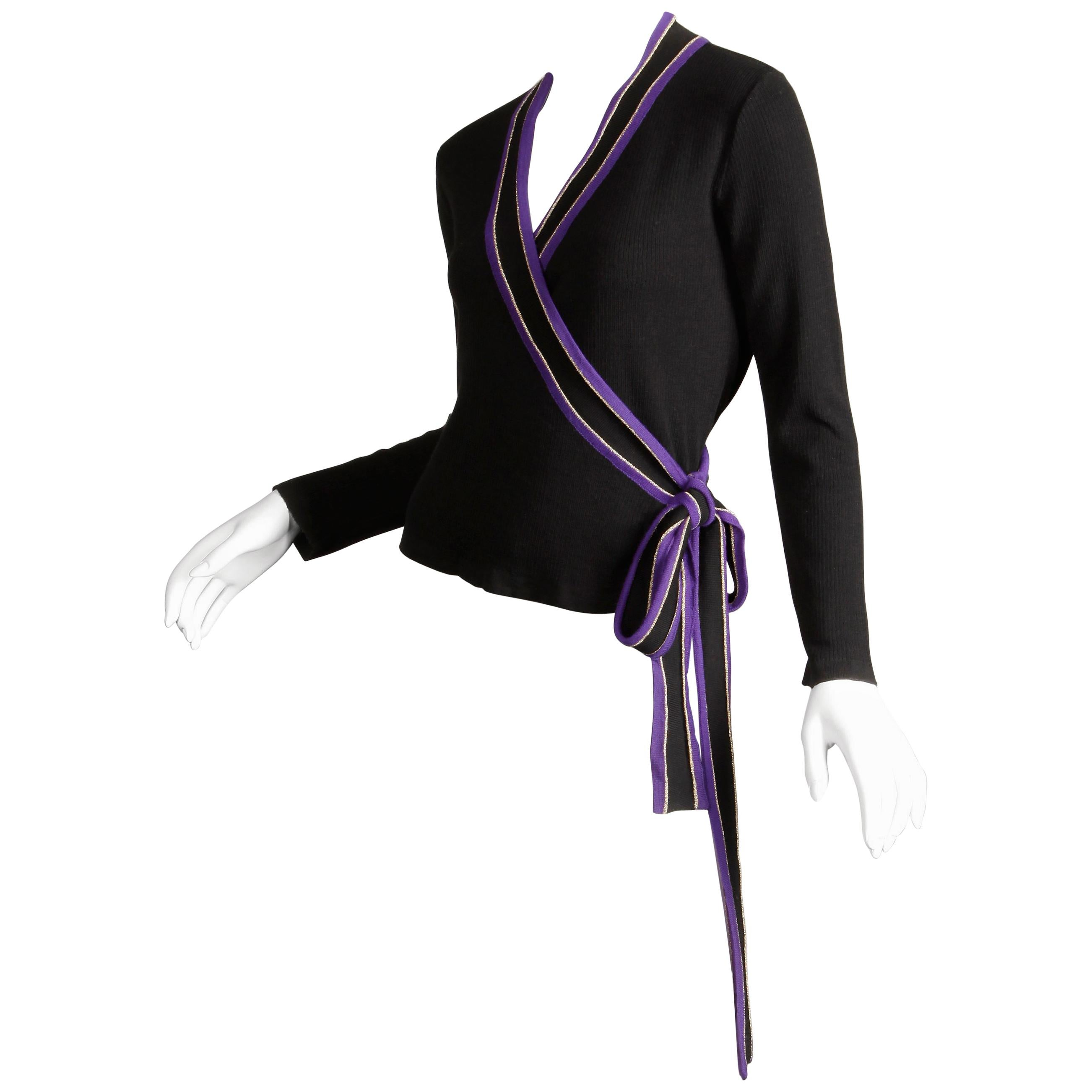 1970s Yves Saint Laurent Vintage Purple Black Gold Knit Wrap Sweater Top/ Shirt
