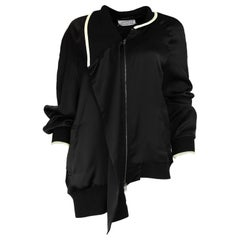 Maison Martin Margiela Black Bomber Jacket W/ White Knit Trim Sz M