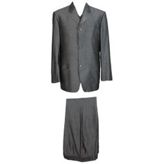 1990s Gianni Versace Vintage Pants Suit Gray Linen Set Jacket Waistcoat