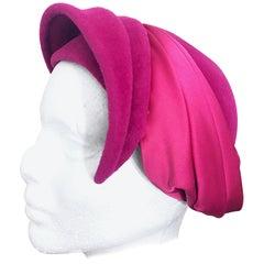 1950s Elsa Schiaparelli Shocking Hot Pink Rare Velvet Vintage Avant Garde Hat