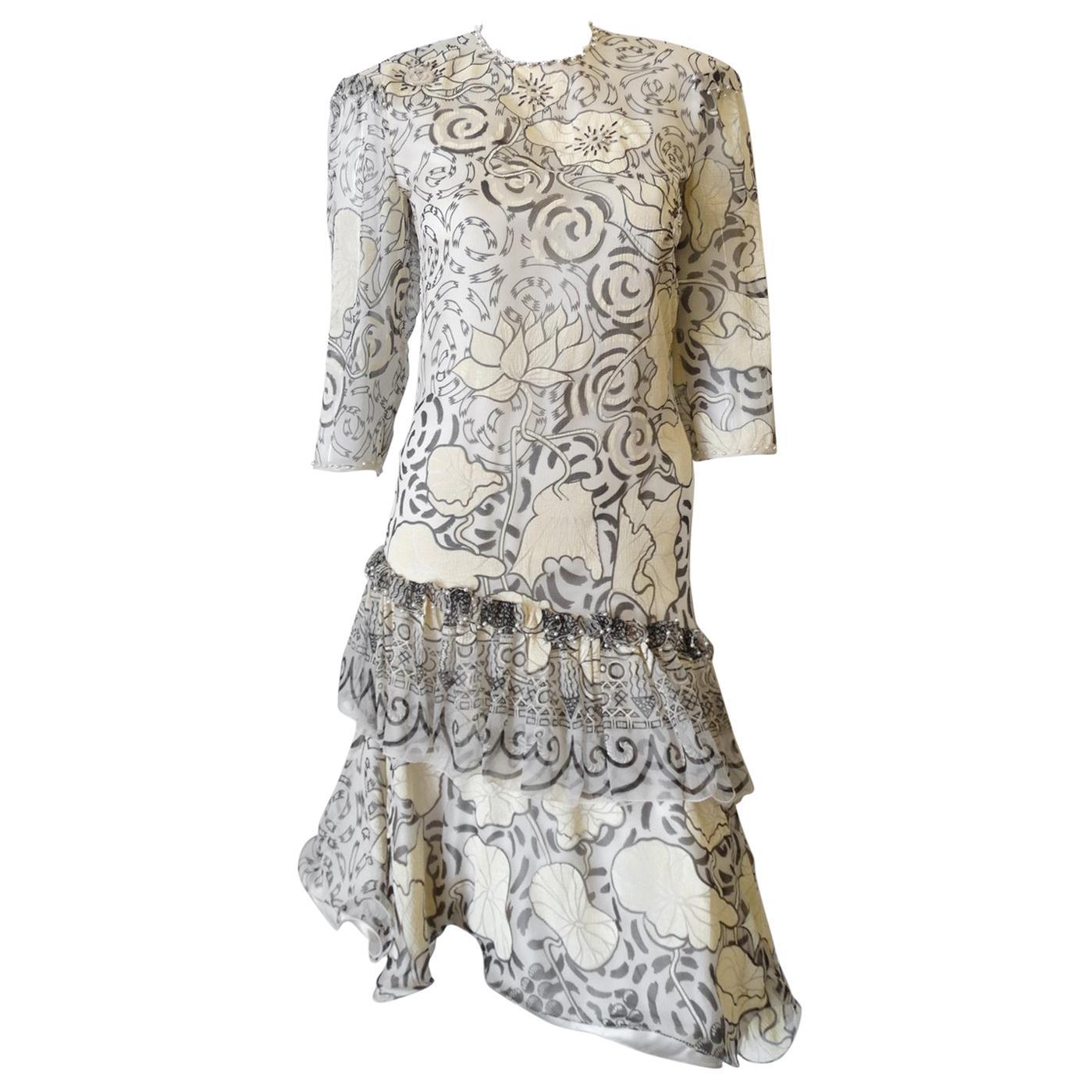 1980s Zandra Rhodes Abstract Motif Drop Waist Silk Dress