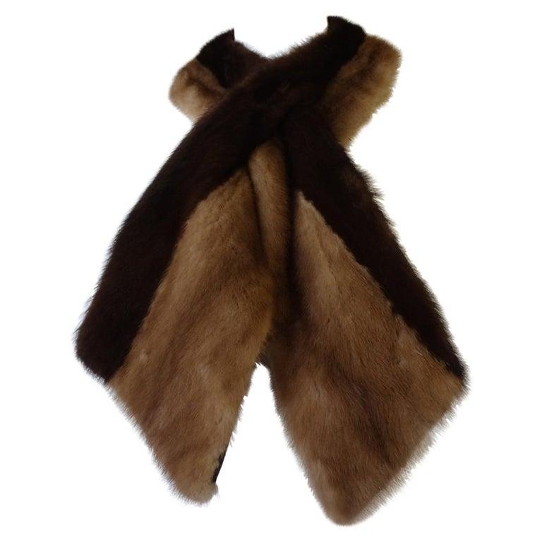 1950s Hubert de Givenchy Two-Tone Mink Fur Stole