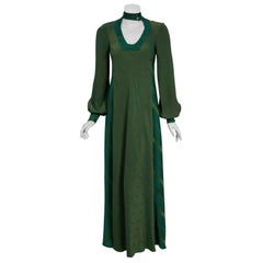 1970 Alice Pollock Green Print Rayon Cut-Out Plunge Billow Sleeve Maxi Dress