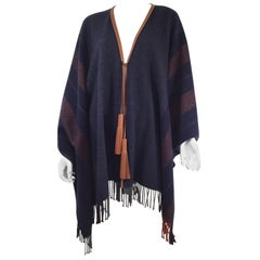 Hermes Sellier Cashmere Cape with Fringe