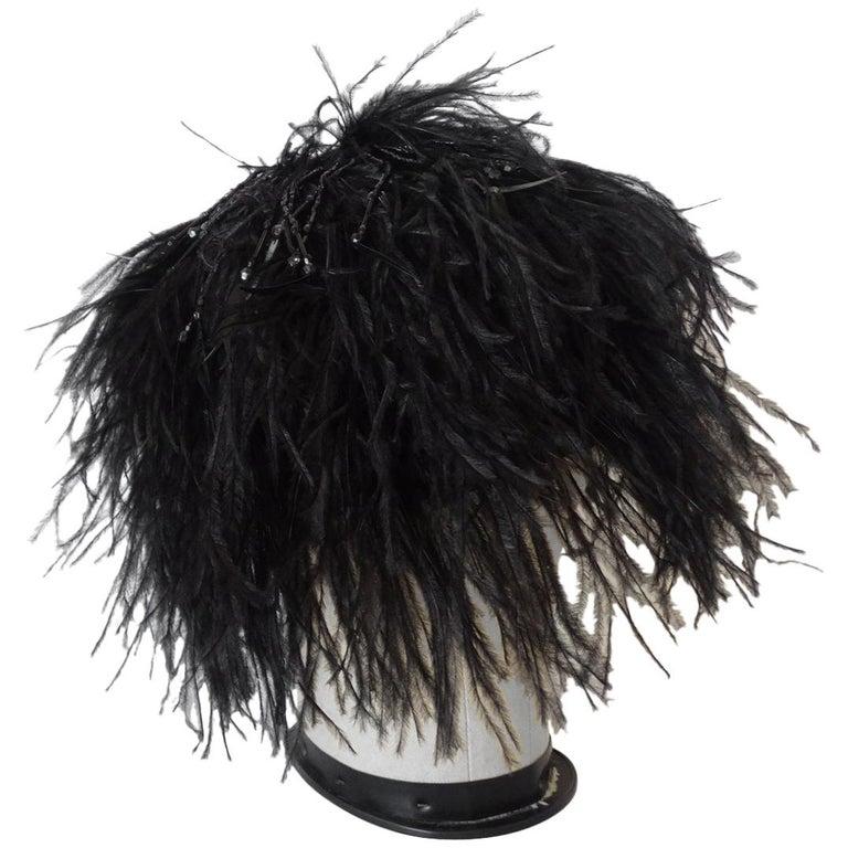 Giorgio Armani Beaded Ostrich Feather Statement Beanie