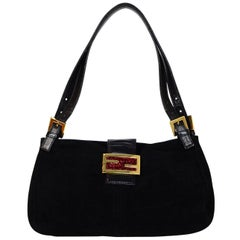 Fendi Black Suede Baguette Bag W/ Red Glitter Enamel FF Logo Buckle