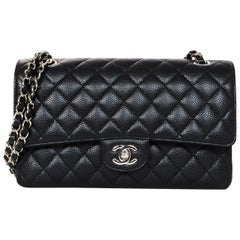"""Chanel 2018 NEW Black Quilted Caviar Leather Medium 10"""" Double Flap Classic Bag"""