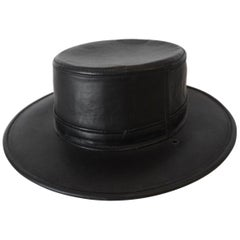 Henschel Black Genuine Leather Wide Brim Boater Hat