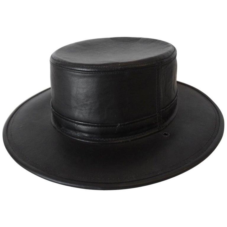 Henschel Black Genuine Leather Wide Brim Boater Hat For Sale