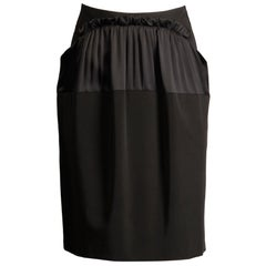 2000s Philosophy di Alberta Ferretti Black Ruffle Ruched Skirt