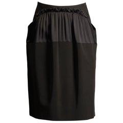 2000s Philosophy di Alberta Ferretti Black Ruffle Ruched Skirt