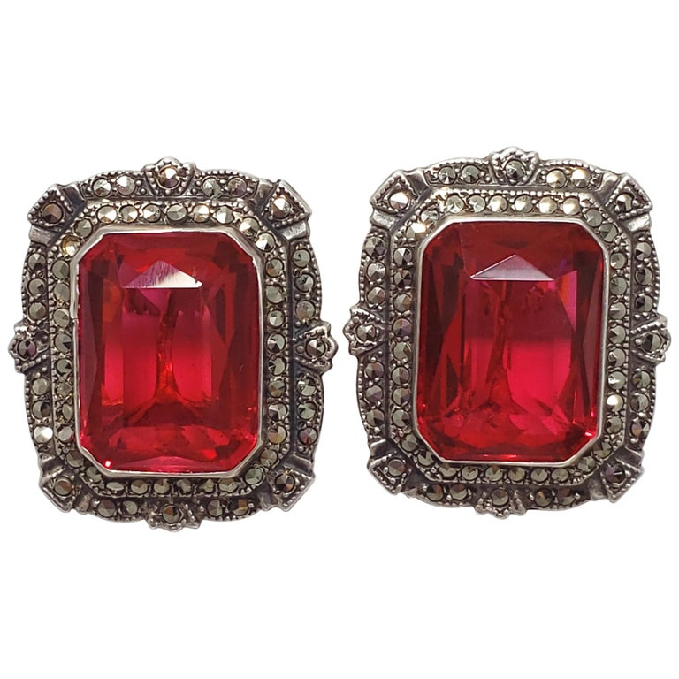 Victorian Ruby Colored Crystal Marcasite Clip On Earrings In Sterling Silver For
