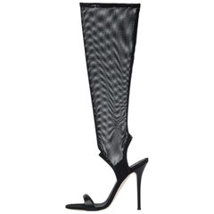 Giuseppe Zanotti NEW Black Leather Fishnet Knee Evening Sandals Heels in Box