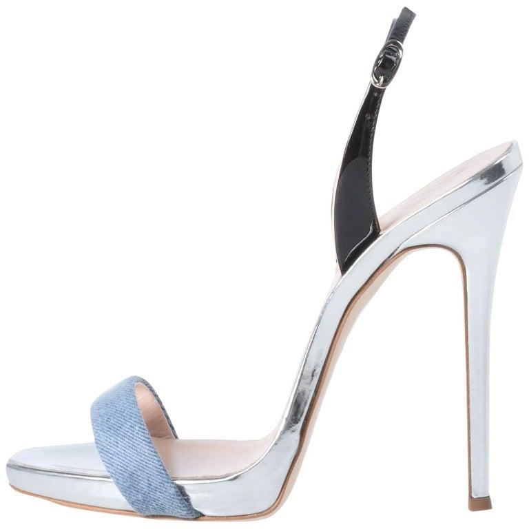 Giuseppe Zanotti NEW Silver Leather Blue Denim Evening Sandals Heels in Box