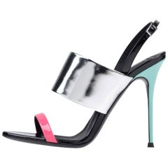 Giuseppe Zanotti NEW Silver Pink Blue Leather Evening Strap Sandals Heels in Box