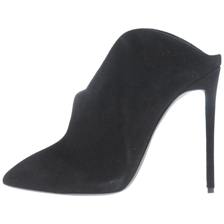 Giuseppe Zanotti NEW Black Suede Evening Sandals Slide In Mules Heels in Box