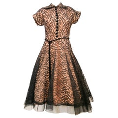 1950's Black Lace Dress with Blush-Colored lining and Velvet Accents