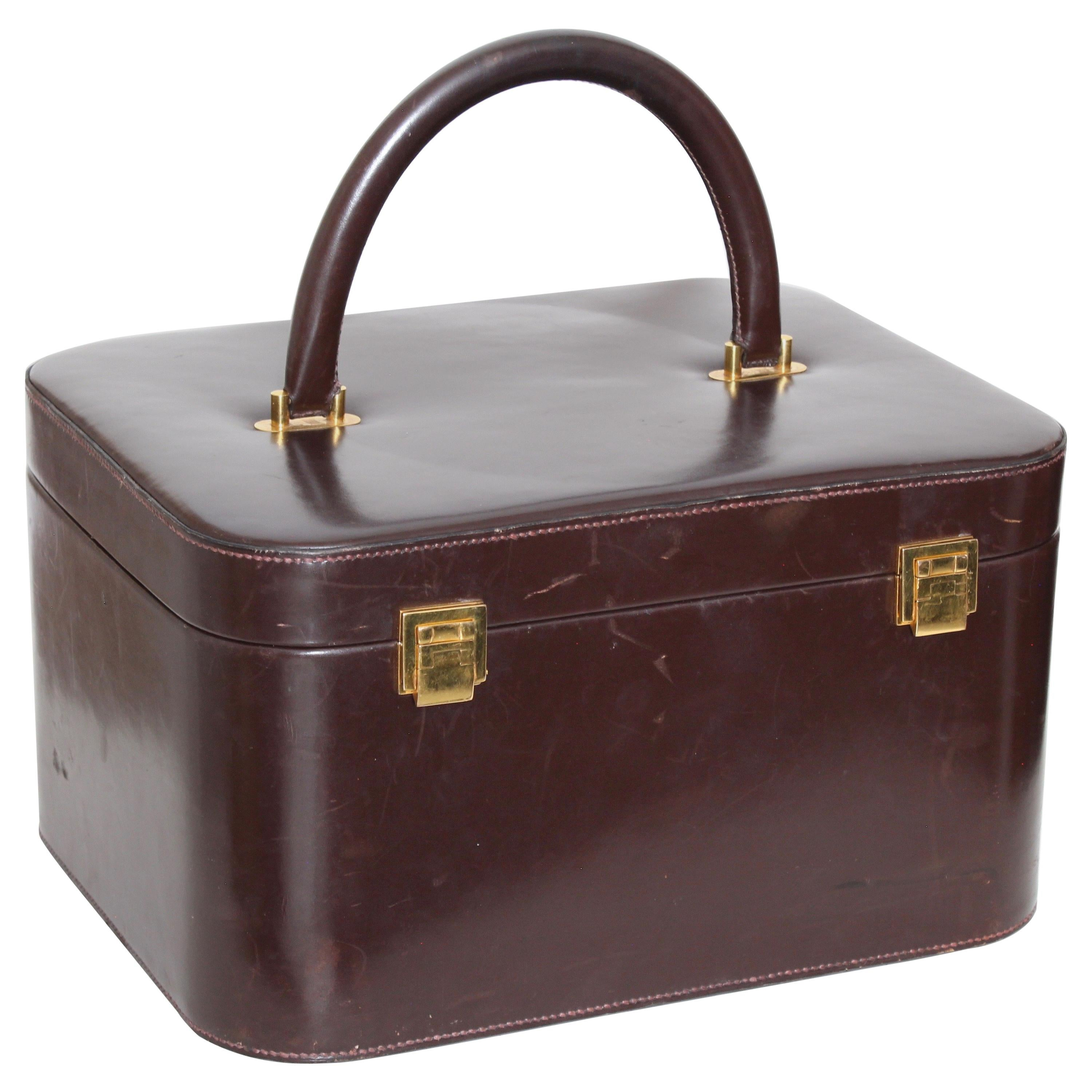 e7b70588f35e Rare Hermes Box Leather Train Case Vanity with Mirror Travel Carry On Bag  1950s at 1stdibs