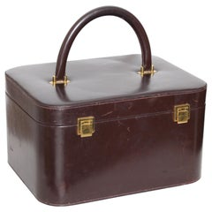 Rare Hermes Box Leather Train Case Vanity with Mirror Travel Carry On Bag 1950s