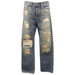 DENIM JEANS RRL by RALPH LAUREN Size 32 Indigo Distressed Selvedge Denim Jeans