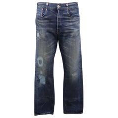 LEVI'S VINTAGE Size 32 Indigo Distressed Selvedge Denim Jeans