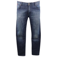 ISAIA Size 34 Indigo Wash Selvedge Denim Jeans