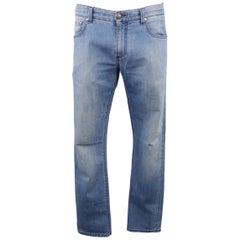 ISAIA Size 34 Blue Wash Selvedge Denim Jeans