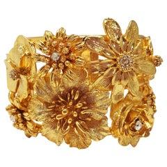 "Oscar de la Renta Gold Bold Flower Statement Bracelet w Clear Crystals 2"" High"