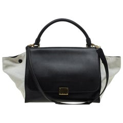 Celine Black/Beige Leather and Canvas Medium Trapeze Tote