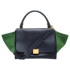 Celine Black/Green Leather and Suede Small Trapeze Tote