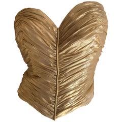 Loris Azzaro Couture Vintage 1970's Gold Corset Size 44