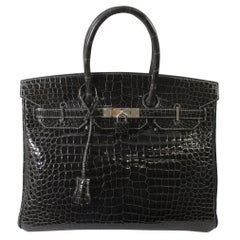 Hermes Black Graphite Porosus Crocodile Leather Birkin 35 Bag,
