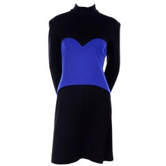 1980s Patrick Kelly Vintage Dress in Blue and Black Color Block Heart Wool Knit