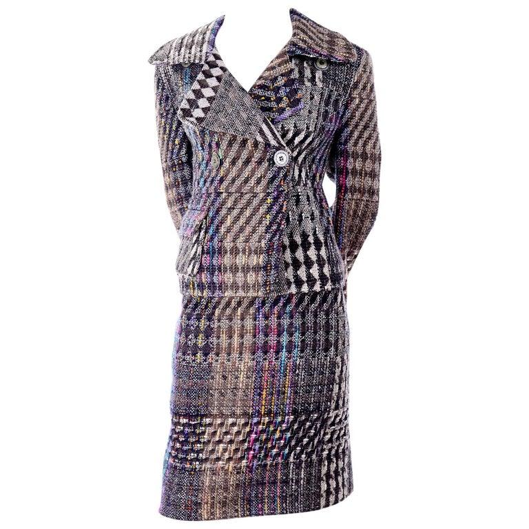 1990s Christian Lacroix Vintage Colorful Mixed Plaid Skirt & Jacket Suit Size 42 For Sale