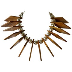 Vintage Italian Architectural Modern Statement Geometric Necklace