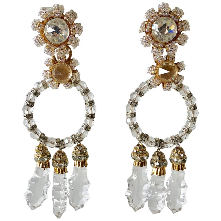 Important Vintage Designer Crystal Statement Earrings For Sale