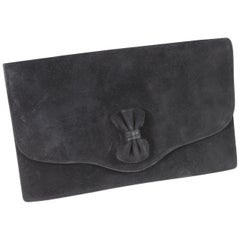 1973 Hermes Vintage Black Suede Ribbon Clutch