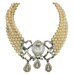 Kenneth Lane Pearl and Rhinestone Necklace