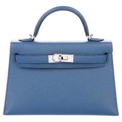 Hermes 20 Mini Kelly Seller II Top Handle Satchel Shoulder Flap Bag in Box