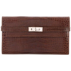 Hermes Chocolate Brown Alligator Palladium Kelly Clutch Wallet Bag in Box