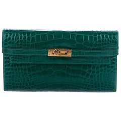 Hermes Kelly Green Alligator Gold Evening Kelly Clutch Wallet Bag in Box