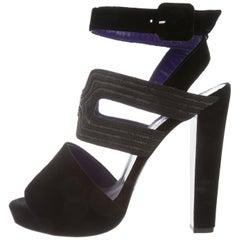 HERMES NEW Black Purple Bead Strappy Evening Sandals Heels