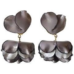 French Grey Flower Statement Earrings by Cilea Paris
