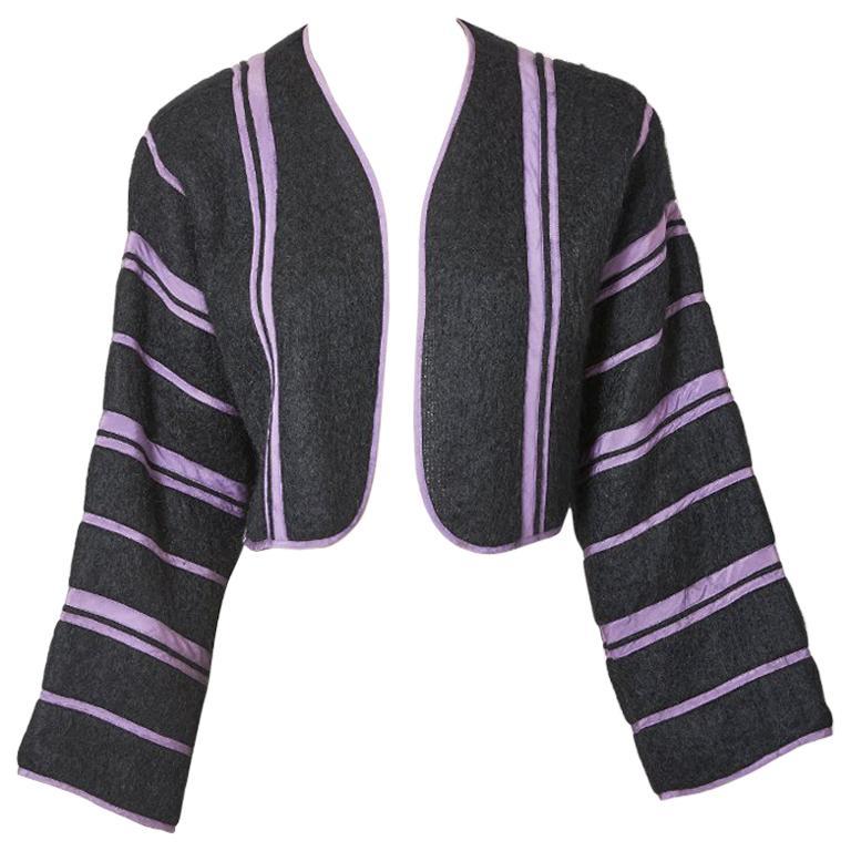Geoffrey Beene Mohair Striped Bolero For Sale