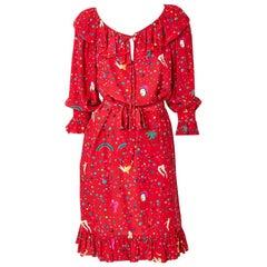 Ungaro Circus Pattern Silk Dress