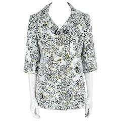 Chanel Multicolor Floral Applique Detail Double Breasted Textured Jacket L